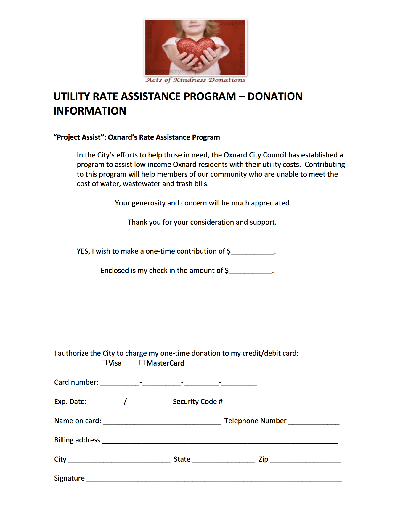 Rate Assistance Program - Donation Information