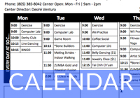Senior Center Calendars
