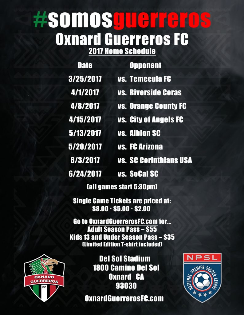Oxnard Guerreros Flyer English