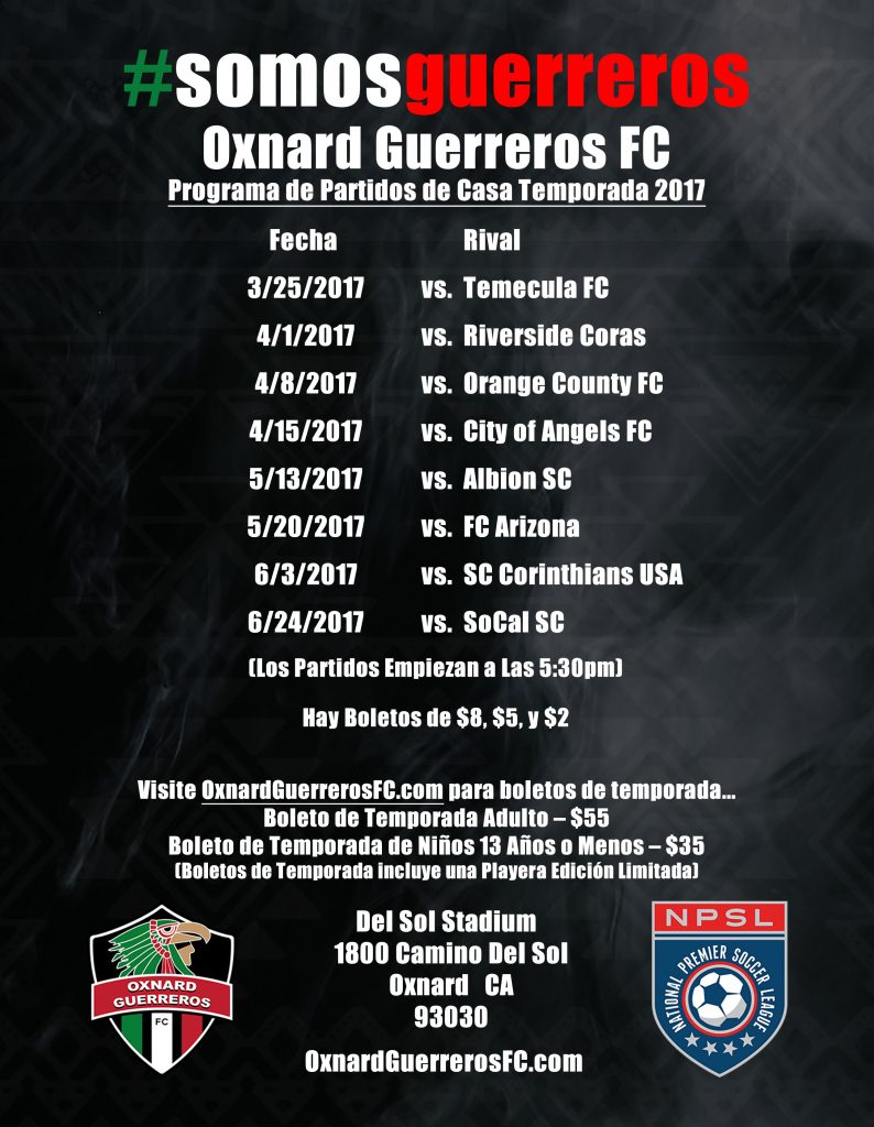 Oxnard Guerreros Flyer Spanish