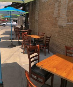 Outdoor tables and chairs for dining