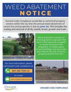 Weed abatement due June 1, 2021